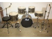 Pearl Roadshow Bronze 5 Piece Full Drum Kit (18 in bass) + Stands + Stool + Paiste 101 Cymbal Set