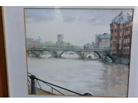Vintage Framed Watercolour Bristol Bridge by Artist Carol Frarey Castle Park Original Painting Art