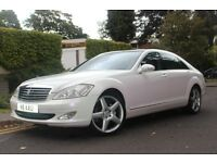 WHITE MERCEDES-BENZ S CLASS 3.0 CDI, CREAM LEATHERS, 114,000 ON CLOCK.