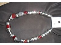 Red Stone & Silver Necklace