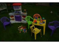Kids outdoor or indoor kitchen dinning set and table and chairs