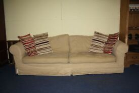 3/4 seater sofa. loose covers, sandy beige 5 years old free if can collect by Monday