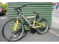 """mountain bike with front and rear suspension 16"""" frame 24"""" wheels"""