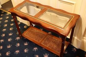 Mahogany coloured Console Table, bevelled glass top. £20
