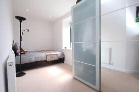 Leather double bed & mattress (Dark Brown)