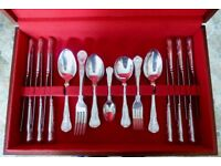 Viners Kings pattern Silver plate 44 piece stainless steel cutlery set in mahogany presentation box.