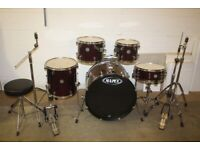Mapex Horizon Wine Red Full 5 Piece Drum Kit (22in Bass) + Stands + Stool + Cymbal Set