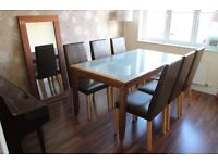 Dining table set - solid wood/frosted glass table, 6 faux leather chairs + matching wall mirror