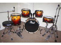 "Pearl ELX Series Tobacco Fade 5 Piece Full Drum Kit (20"" Bass) + Sabian B8 Cymbal Set Stands & Stool"