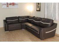 Ex-display Sisi Italia Victor dark brown leather and fabric corner sofa