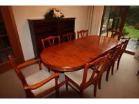 Extendable Dining Room Table and 8 Chairs & Console Table