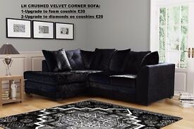 **UP TO 5 YEAR WARRANTY!!** Dylan Crushed Velvet 3 and 2 Set or Corner Suite in Different Colours