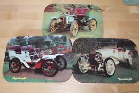 3 x Vintage Car Wall Mounted Placemats