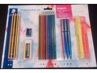 Staedtler 19 piece essentials pack (pencils, eraser, sharpener, pen, highlighter)