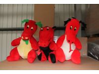 Three large Welsh dragons soft toys