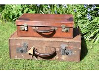 Two Vintage Suitcases One Wood & Canvas The Other Leather,vintage luggage,suitcases,travel bags,
