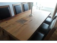 Acacia Wood Dining Table, 6 matching chairs , heavy quality cost £1,850 Sell for £600