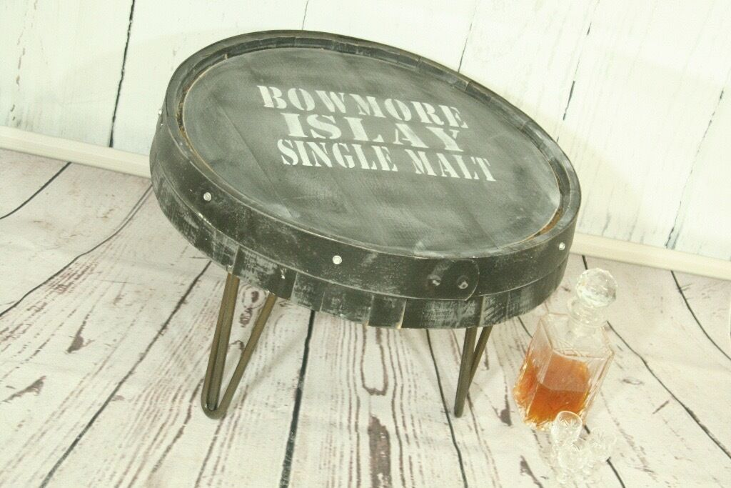 Original rustic whisky barrel coffee table on hairpin legs