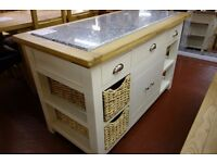 New cream and oak large kitchen island with granite top £699