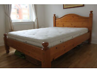 UK King Size Solid Wood Bed with Vi-Spring Traditional Bedstead Mattress