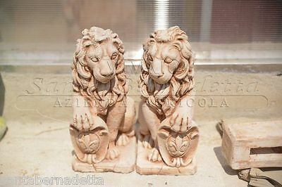 Statua Leone Statue Leoni Arredo Giardino - Altezza 55 cm circa