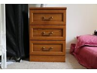 Beautiful Hardwood Bedside table with drawers and brass handles