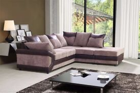 BRAND NEW -- DINO JUMBO CORD CORNER OR 3 AND 2 SOFA IN BLACK AND BROWN COLOURS - -SAME DAY DELIVERY