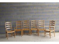 Set of Vintage Retro Mid Century Ercol 823 / 823A Penn Ladderback Dining Chairs / Armchairs