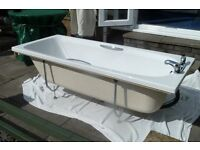 White Bath with Taps, Frame and Feet - Excellent Condition - Bargain £25
