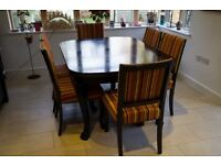 Original 1936 extendable Dining table and 6 chairs with new teflon upholstery
