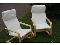 IKEA Pello Armchairs Chairs Seats Cream Wooden Two