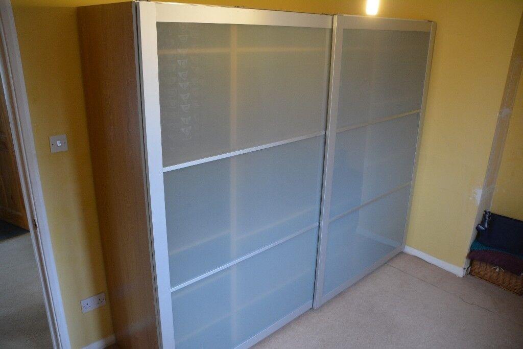 Ikea Lyngdal Sliding Doors For Pax Wardrobe 25m Glass Aluminium
