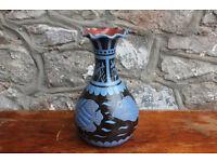 Stunning Vintage Studio Pottery Fish Vase Large Dated 1961 Blue Black Nautical Maritime Art Pottery