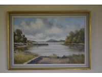 J.C. McDaid - Oil Painting of Harbour and Estuary. Donegal