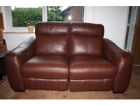 Real leather brown two seats sofa with two electric/power recliners only £250