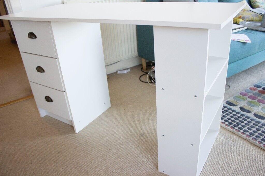White Desk Writing Table Workstation Dressing Home Storage