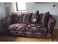 2, 3 seater sofas & 1 chair, Burgundy with antique gold pattern, Excellent condition