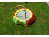 small todlers trampoline with hand rail