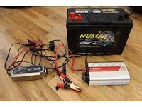 Numax Marine/Leisure Battery, CTEK Charger & 1000w Inverter