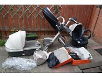 Stokke Xplory stroller with Car Seat iZiSLEEP by BeSafe, Carry Cot and accesorries.