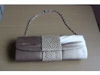 Brand New Iber Bolsos Satin Clutch Bag with Removable Chain Strap and Dustbag Ivory