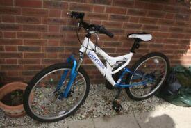 White and Blue Mont Blanc Vertigo 21 inch wheel Bicycle with Shimano 18 gears