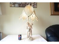 LARGE VINTAGE CHERUB FIGURINE TABLE LAMP WITH VICTORIAN STYLE CROWN SHADE