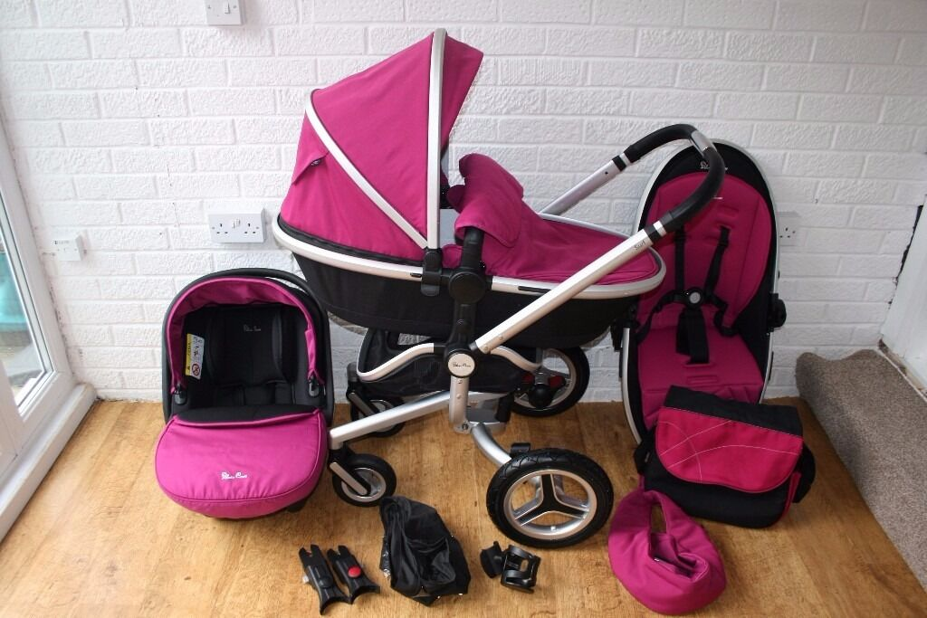 Pink Silver Cross Surf 2 pram travel system with car seat 3 in 1 CAN POST
