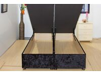 NEW Black 4ft6 Double Deep Ottoman Wooden Storage Easy Lift Up Bed Super Strong with Mattress