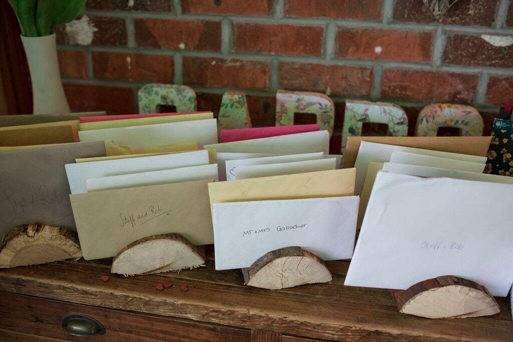 Rustic Wedding Card Holders. Log Slices