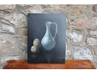 Original Old Vintage Painting Still Life Jug With Fruit Signed. Picture Canvas Picture Art