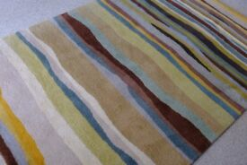 Estella Summer B&C Contemporary striped 100% wool rug blues brown cream gold