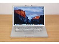 Macbook Pro 15 inch Apple mac laptop SSD hard drive 3gb ram memory on EL Capitan 10.11 OS