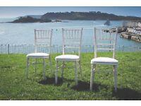 140 x Limewash Chiavari Chairs with Ivory Seat Pad - Brand New